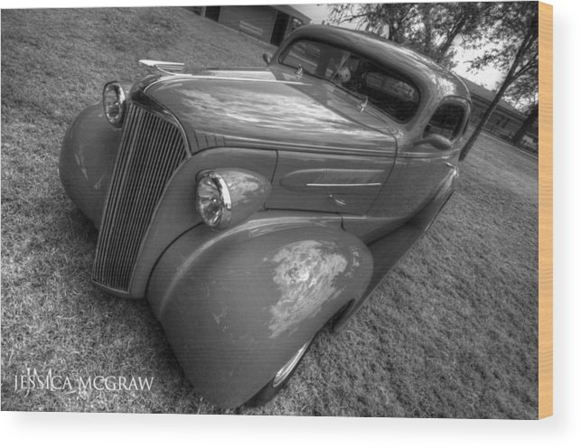 Black Wood Print featuring the photograph 37 Chevy Coupe Bw by Jessica Brooks
