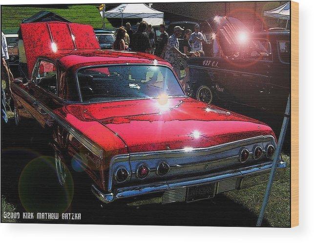 62 Chevy Impala Wood Print featuring the digital art 62 Chevy Impala Ss Back by Kirk Gatzka