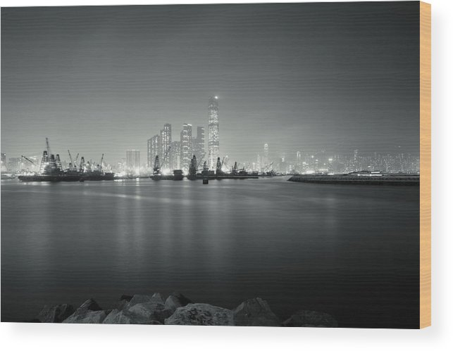 Harbour View Wood Print featuring the photograph Hong Kong Harbour View by Kam Chuen Dung