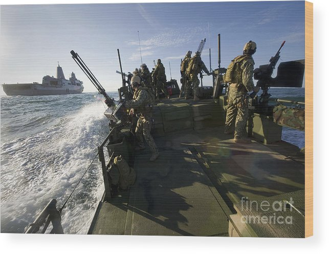 Exercise Bold Alligator Wood Print featuring the photograph A Riverine Squadron Conducts Security by Stocktrek Images
