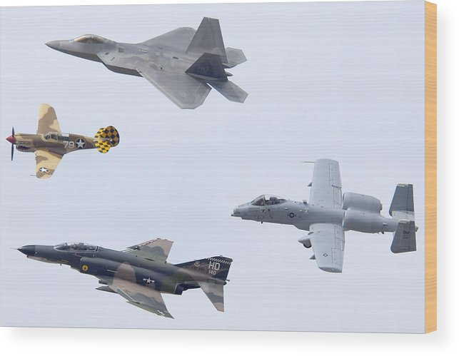 Airplane Wood Print featuring the photograph Air Force Heritage Flight Luke Afb March 19 2011 by Brian Lockett