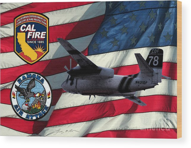 Firefighing Wood Print featuring the digital art American Hero 2 by Tommy Anderson