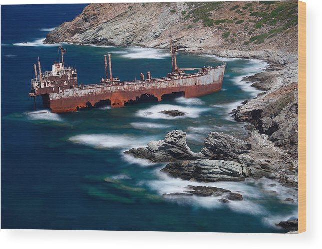 Aegean Wood Print featuring the photograph Andros - Greece by Constantinos Iliopoulos