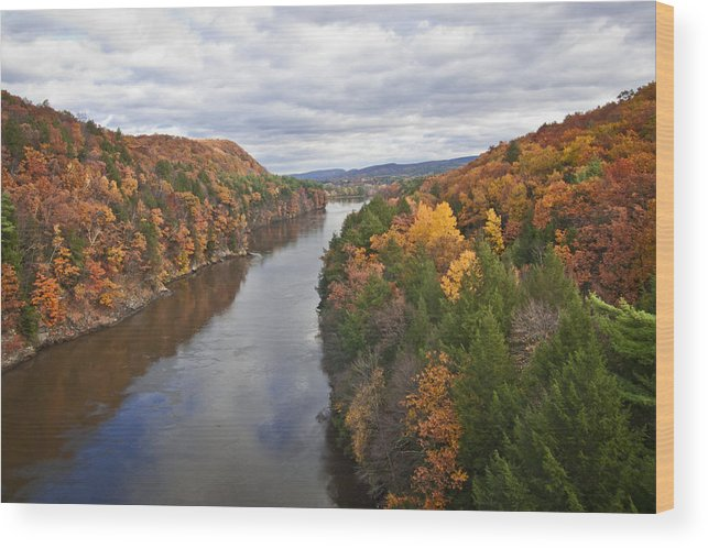 Nature Wood Print featuring the photograph Autumn Foliage Scenery Viewed From French King Bridge by Jiayin Ma