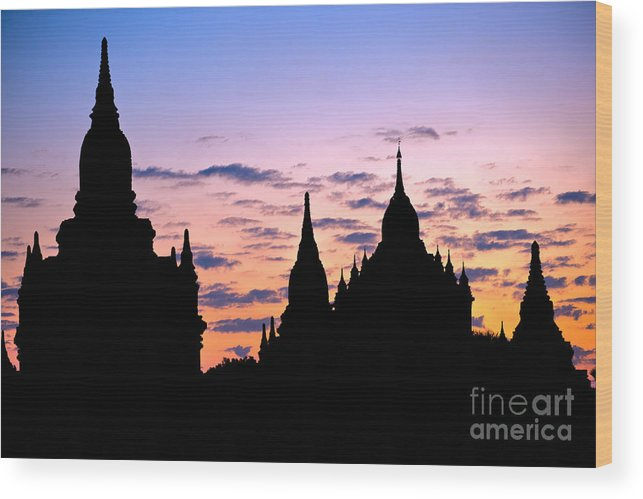 Ancient Wood Print featuring the photograph Bagan by Luciano Mortula