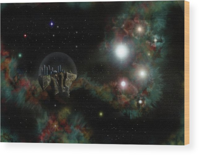 Base Wood Print featuring the digital art Base In Space by Aaron Coley