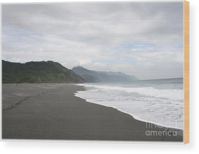 Sand Wood Print featuring the digital art Beach Walked Alone by Maxine Bochnia