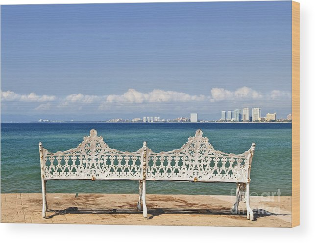 Bench Wood Print featuring the photograph Bench On Malecon In Puerto Vallarta by Elena Elisseeva