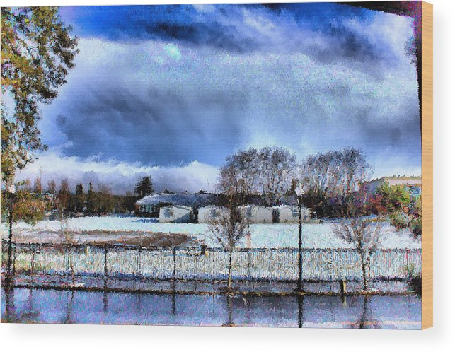 Beaverton High School Wood Print featuring the mixed media Bhs Softball Field Winter 2012 Full by Terence Morrissey