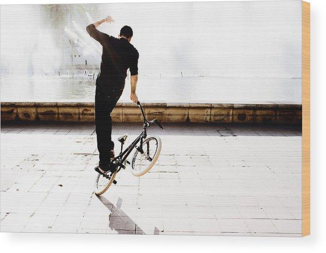 Bike Wood Print featuring the photograph Bike Mx by Gabriel Calahorra