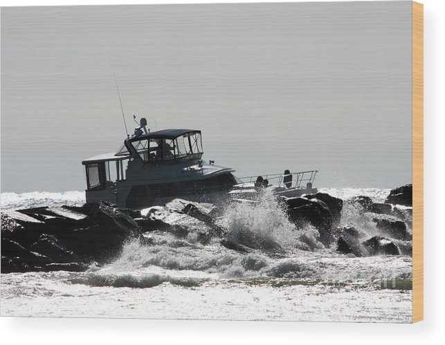 Boat Wood Print featuring the photograph Boat Running Aground On Rocks by Christopher Purcell