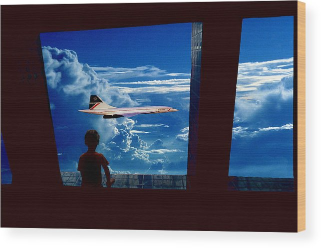 Boy And Concord Wood Print featuring the photograph Boy And Concord by Larry Mulvehill