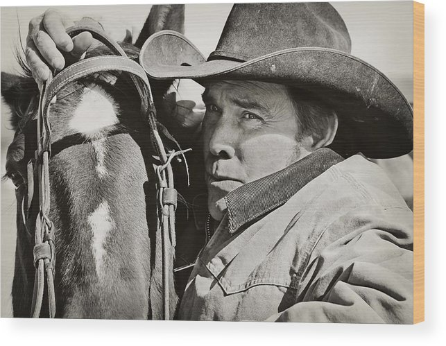 Cowboy Wood Print featuring the photograph Bridling Up by Megan Chambers