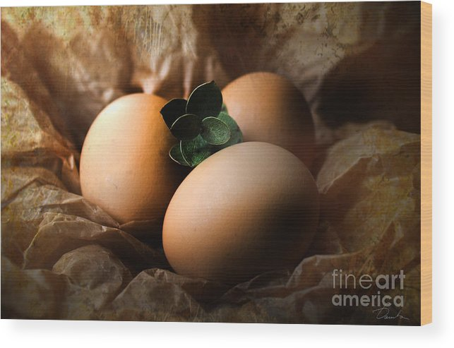 Classy Easter Eggs Wood Print featuring the photograph Brown Easter Eggs by Danuta Bennett