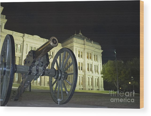 Cannon Wood Print featuring the photograph Cannon In Front Of The Texas State Capitol In Austin by Andre Babiak
