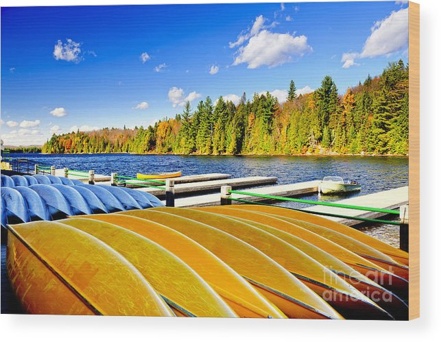 Canoes Wood Print featuring the photograph Canoes On Autumn Lake by Elena Elisseeva
