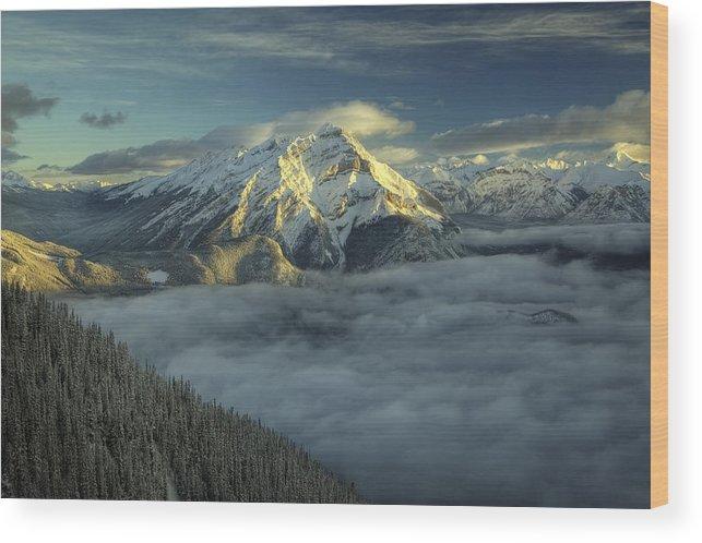Cloud Wood Print featuring the digital art Cascade Mountain Banff by Diane Dugas