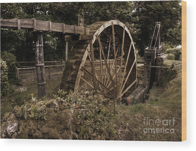 Water Wood Print featuring the photograph China Clay Waterwheel by Rob Hawkins