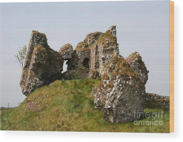 Clonmacnoise Castle Wood Print featuring the photograph Clonmacnoise Castle Ruin - Ireland by Christiane Schulze Art And Photography