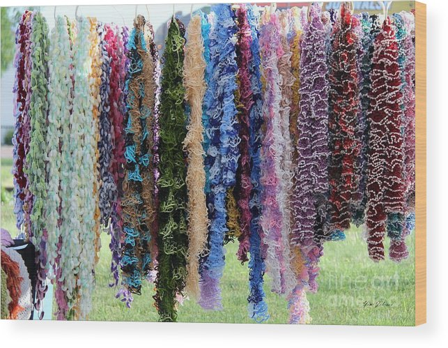 Scarfs Wood Print featuring the photograph Colorful Scarfs by Yumi Johnson