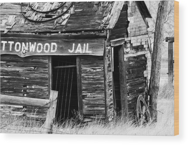 Black And White Wood Print featuring the photograph Cottonwood Jail by Rebecca Basden