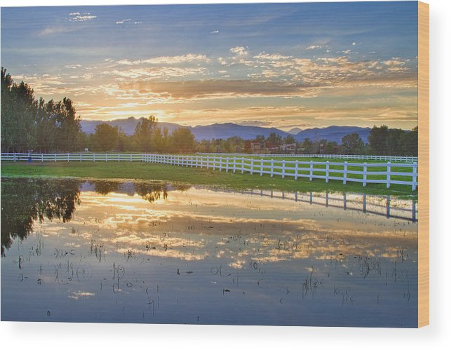 colorado Nature Wood Print featuring the photograph Country Sunset Reflection by James BO Insogna