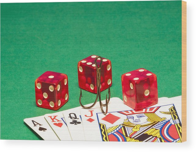 Red Wood Print featuring the photograph Dice Red Cards Hook 1 B by John Brueske