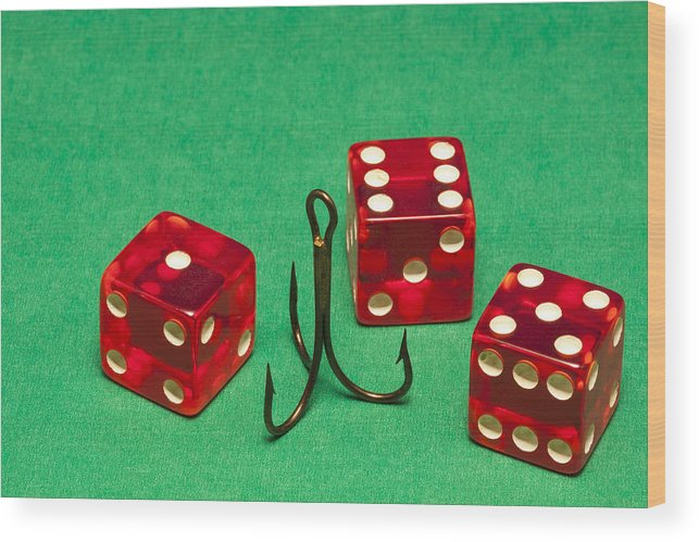 Red Wood Print featuring the photograph Dice Red Hook 1 A by John Brueske