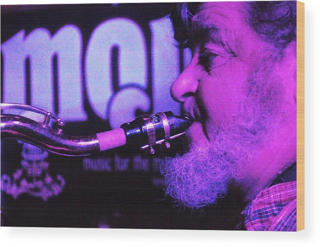Sxophone Wood Print featuring the photograph Ed Lynman On Blues Sax by Mary Frances