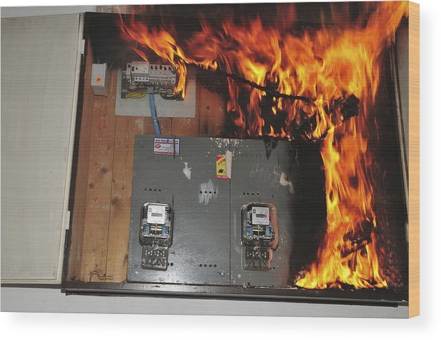electrical fire in a household fuse box wood print by photostock israel rh fineartamerica com fire rated fuse box uno fire fuse box