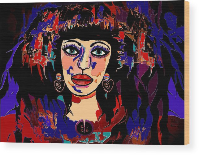 Woman Wood Print featuring the mixed media Exotic Woman by Natalie Holland