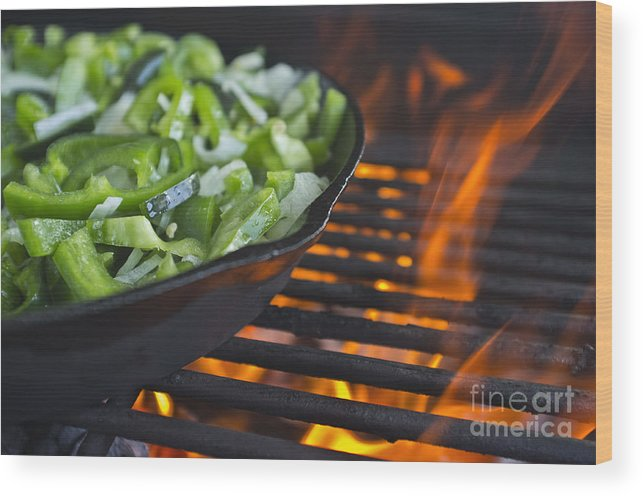 Skillet Wood Print featuring the photograph Fajita Cast Iron Skillet With Green Peppers Sizzling Hot by Andre Babiak