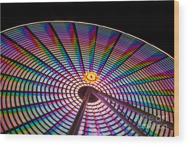 Ferris Wheel Wood Print featuring the photograph Ferris Wheel Rainbow by Darleen Stry