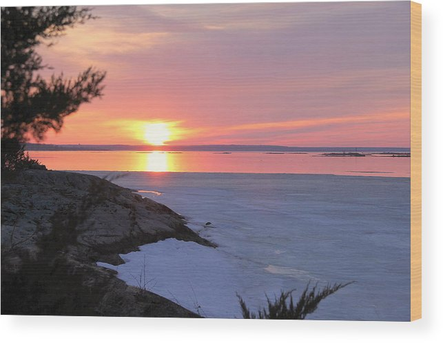 Sunset Wood Print featuring the photograph Fire And Ice by Don Downer