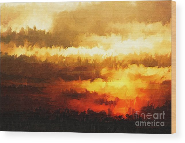 Red Wood Print featuring the photograph Fire In The Sky by Clare VanderVeen