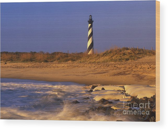 Lighthouse Wood Print featuring the photograph First Light At Cape Hatteras - Fs000257 by Daniel Dempster
