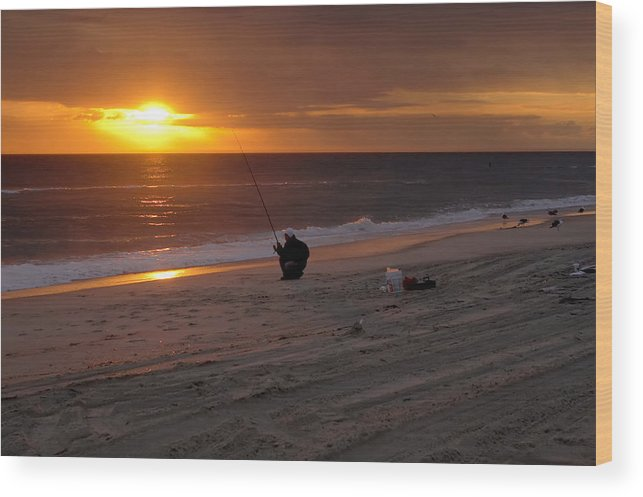 Fisherman Wood Print featuring the photograph Fisherman At Sunrise by Mary Almond
