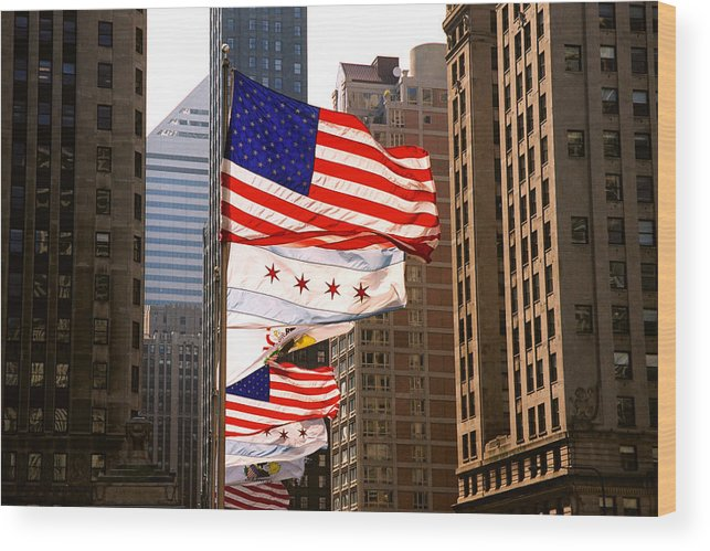 Chicago Wood Print featuring the photograph Flags by Claude Taylor