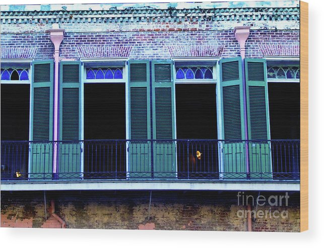 Balcony Wood Print featuring the photograph Four Balcony Windows by Frances Hattier