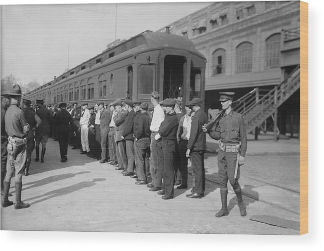 History Wood Print featuring the photograph Germans In Hoboken, New Jersey, Rounded by Everett