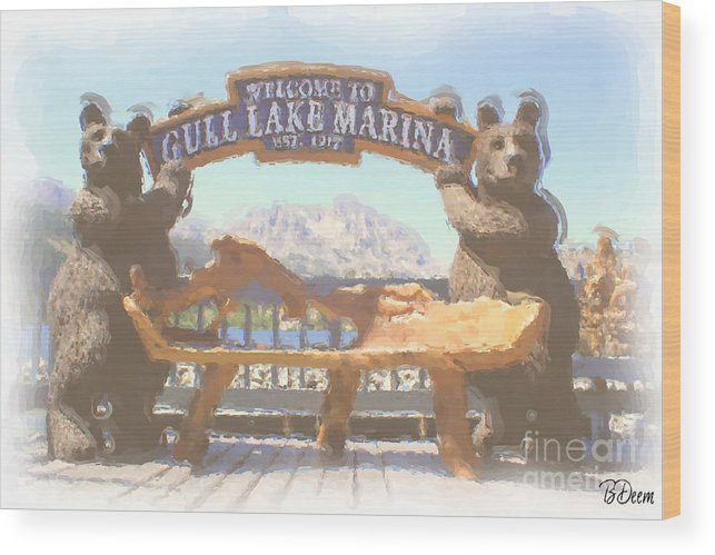 Gull Lake Wood Print featuring the photograph Gull Lake Marina by Brenda Deem
