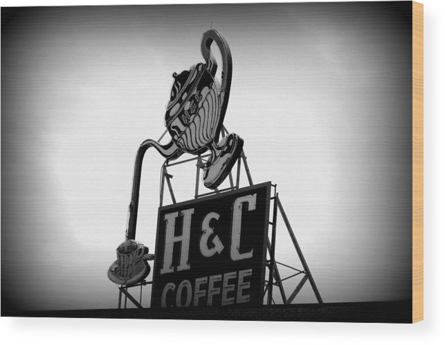 Coffee Wood Print featuring the photograph H And C Coffee by Laura Tucker