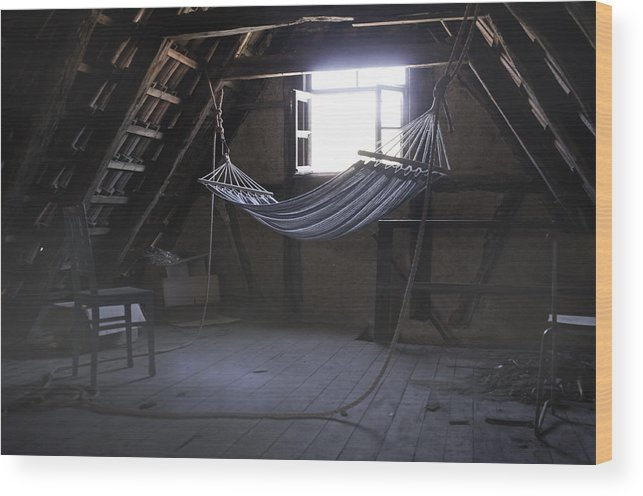 Hammock Wood Print featuring the photograph Hammock In The Attic by Karin Haas