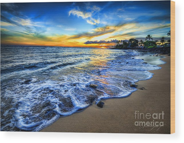 Hawaii Wood Print featuring the photograph Hawaii Sunset by Christian Jelmberg