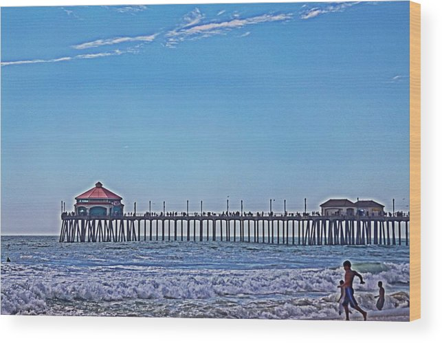 Hb Pier Wood Print featuring the photograph Hb Pier by Lauren Serene