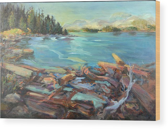 Seascape Wood Print featuring the painting Highest Tide Rebecca Spit by Nanci Cook