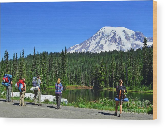 Mountains Wood Print featuring the photograph Hikers At Reflection Lake by Jack Moskovita