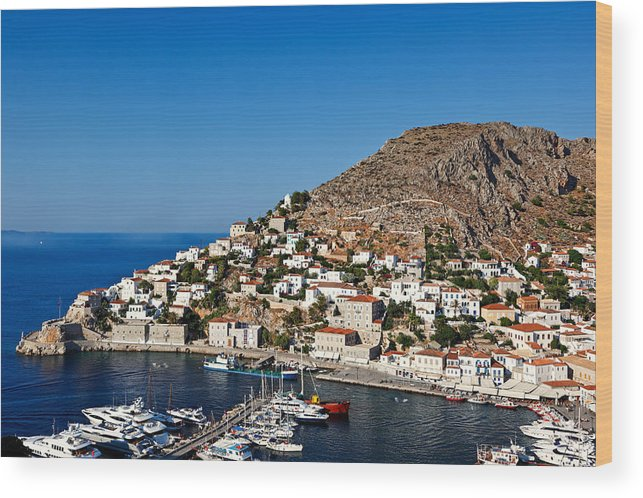 Aegean Wood Print featuring the photograph Hydra - Greece by Constantinos Iliopoulos