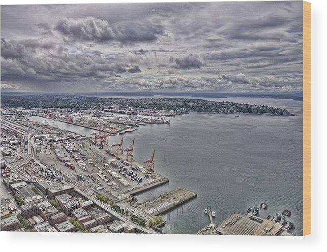 Seattle Wood Print featuring the photograph Industrial Harbor by Rich Bodane