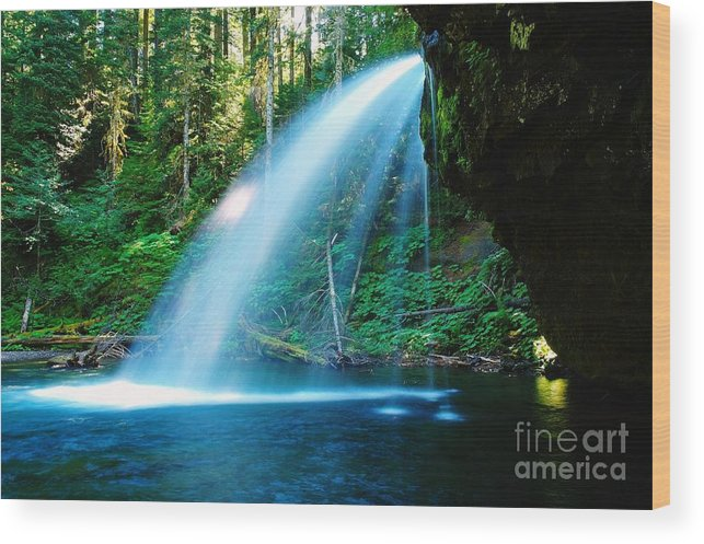 Water. Fall Wood Print featuring the photograph Iron Creek Falls From The Side by Jeff Swan